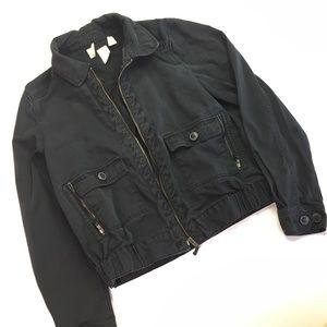 Black Denim Bomber Jacket